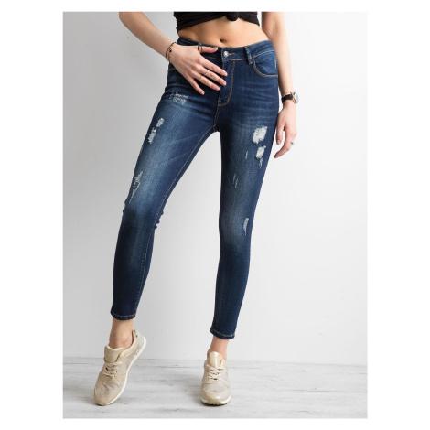 Roztrhané modré džínové úzké džíny FPrice