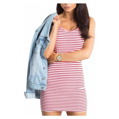 Bílo-červené pruhované dámské šaty BASIC