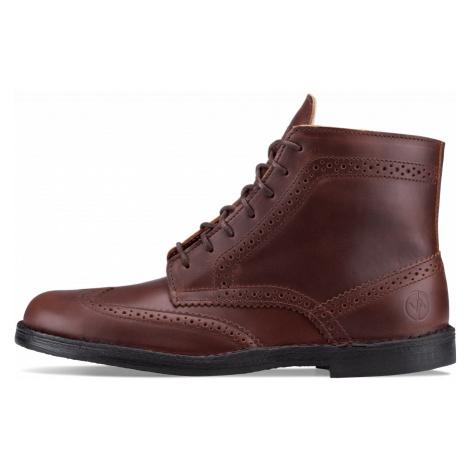 Vasky Brogue High Dark Brown - Pánské kožené kotníkové boty tmavě hnědé, česká výroba