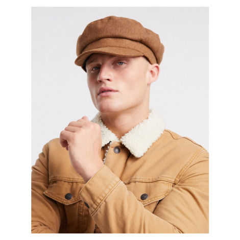 ASOS DESIGN mariner baker boy hat in camel melton-Tan