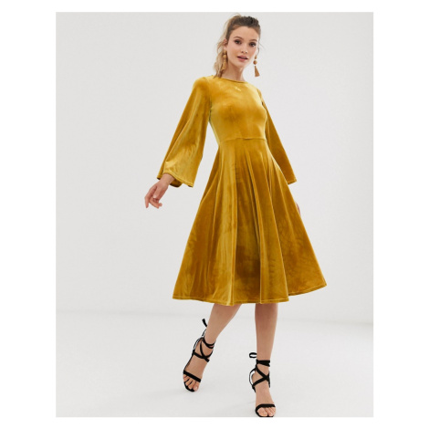 Closet flared skirt dress-Yellow