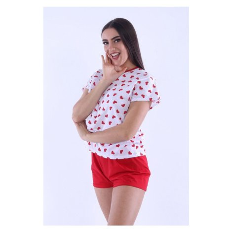 Dámské pyžamo Lada 3 červená srdíčka Nelly