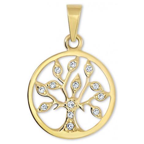 Brilio Zlatý přívěsek Strom života s krystaly 001