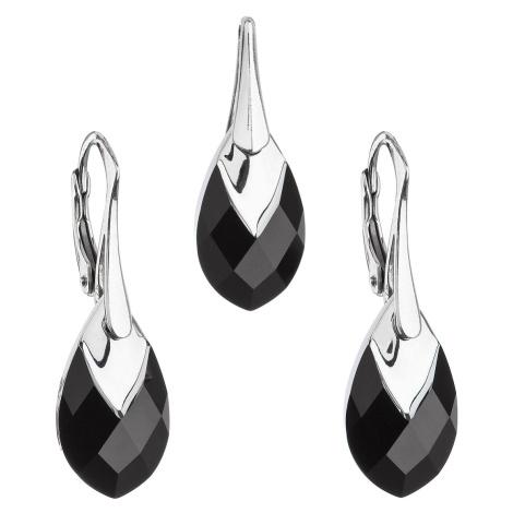 Sada šperků s krystaly Swarovski náušnice a přívěsek černá slza 39169.4 Victum