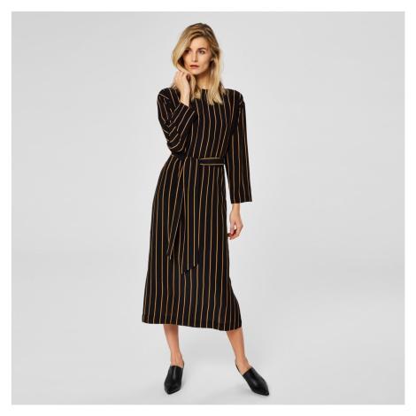 Černé pruhované midi šaty Alessa Selected