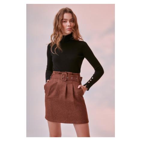 Trendyol Cinnamon Belt Detailed Skirt