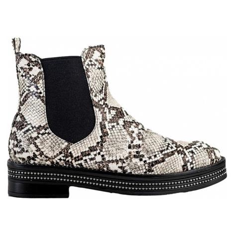 Bílo-černé kotníkové boty s imitací hadí kůže SHELOVET