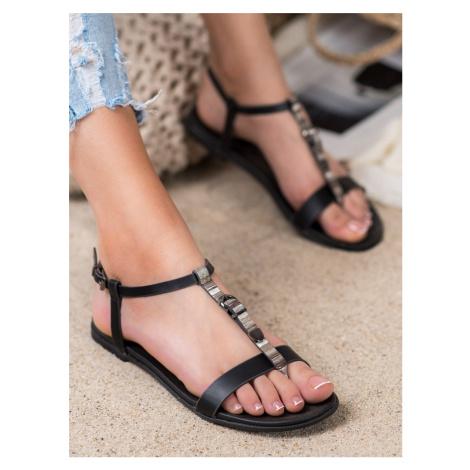 Trendy dámské sandály černé bez podpatku VINCEZA