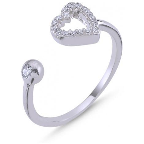 OLIVIE Stříbrný prsten SRDCE - nastavitelná