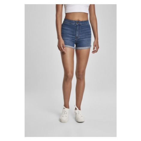 Urban Classics Ladies 5 Pocket Slim Fit Denim Shorts mid indigo washed