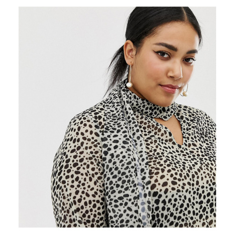 Lost Ink Plus blouse in animal print-Brown