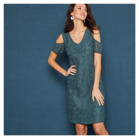 Blancheporte Krátké šaty s krajkou a krátkými rukávy zelená