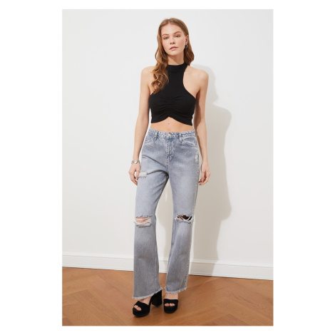 Trendyol Blue Ripped Detailed High Waist 90's Wide Leg Jeans