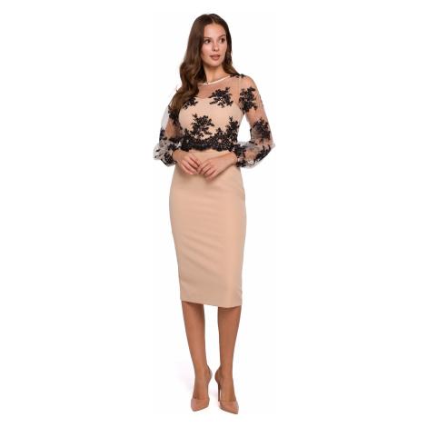 Elegantní pouzdrové midi šaty s průhlednou květinovou krajkou