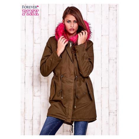 Women´s khaki parka padded parka with pink fur collar Fashionhunters