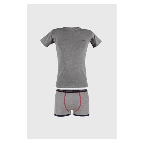 Šedý komplet chlapeckých boxerek a trička Enrico Coveri