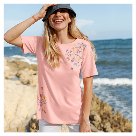 Blancheporte Bavlněné tričko s potiskem motýlů broskvová