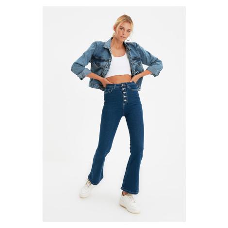 Trendyol Blue Front Button High Waist Crop Flare Jeans