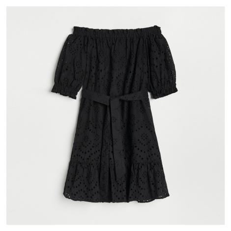 Reserved - Šaty s ažurovým vzorem - Černý