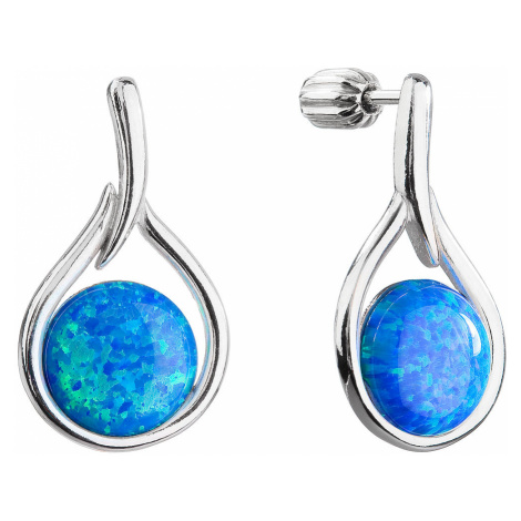 Stříbrné visací náušnice kapky se syntetickým opálem 11336.3 modré
