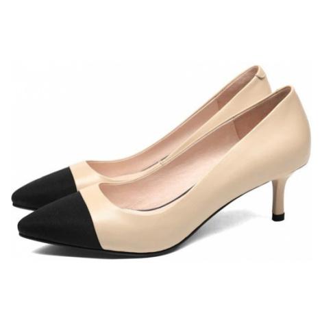 Kožené lodičky na jehle plesové boty se semišovou špičkou