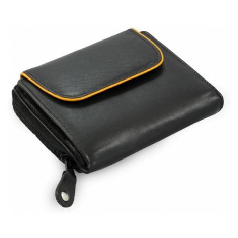 Černá dámská kožená peněženka s hnědým lemem Audrey Arwel