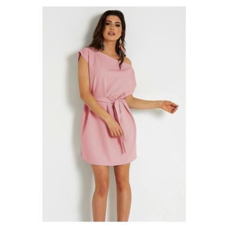 Dámské krátké šaty v růžové barvě s volným střihem 297 IVON