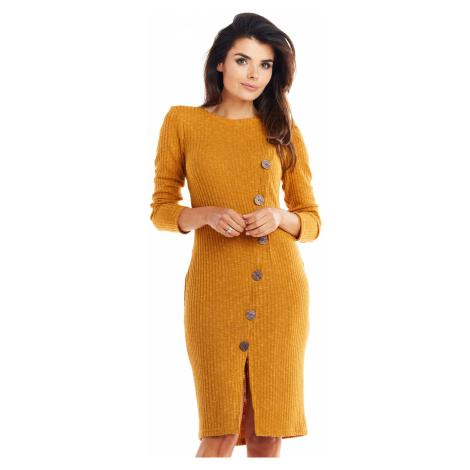 Midi pletené pouzdrové šaty Zeštíhlující postavu s knoflíky