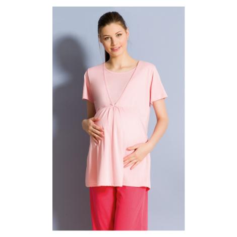 Dámské pyžamo kapri mateřské Vienetta Secret Marie | lososová