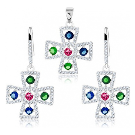 Sada ze stříbra 925, náušnice a přívěsek, maltézský kříž, čiré a barevné zirkony Šperky eshop