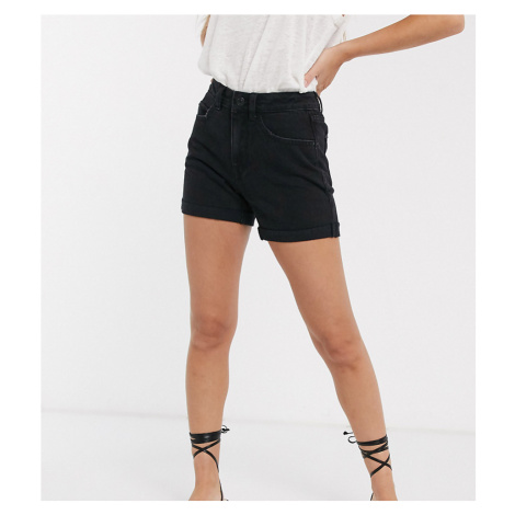 Vero Moda Petite denim mom shorts in black