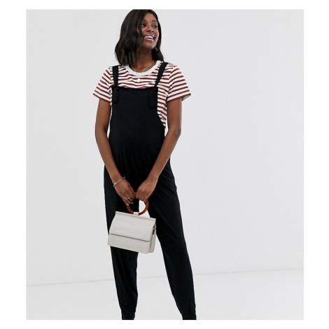 ASOS DESIGN Maternity jersey dungaree jumpsuit in black