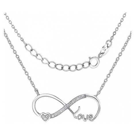 Silvego Stříbrný náhrdelník Nekonečná láska Infinity JJJN0243