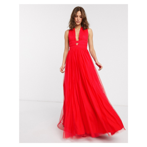 ASOS DESIGN plunge tiered Grecian tulle maxi dress in red