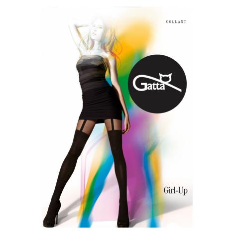 GIRL-UP - vzorované punčochové kalhoty - GATTA černá