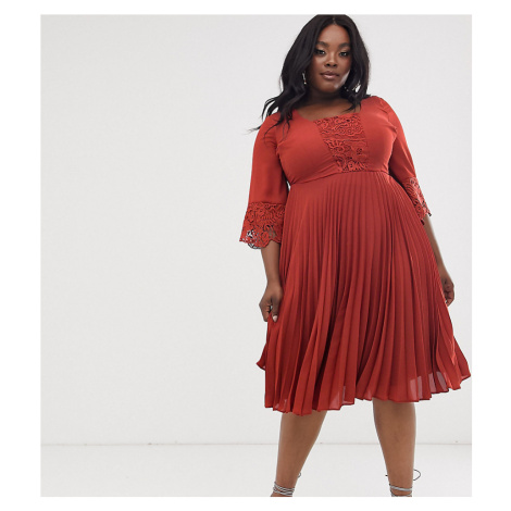 ASOS DESIGN Curve midi dress with pleated skirt and lace insert kimono sleeve-Red