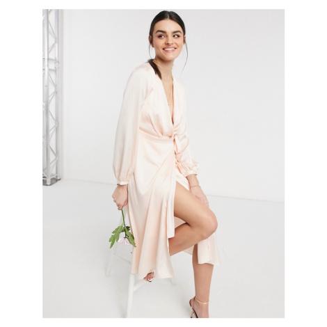 TFNC bridesmaid satin long sleeve wrap front midi dress in light blush-Cream