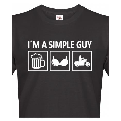 Pánské tričko pro motorkáře Iam a Simple Guy BezvaTriko