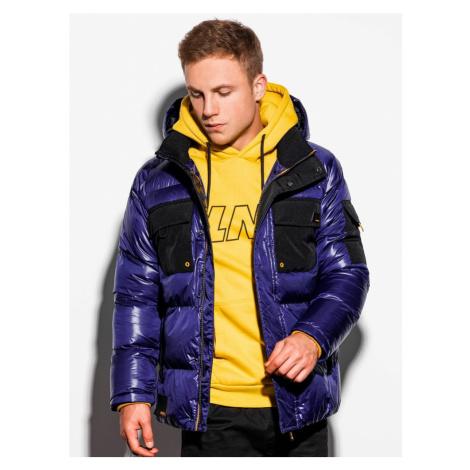 Ombre Clothing Stylová přechodná bunda ve fialové barvě C457