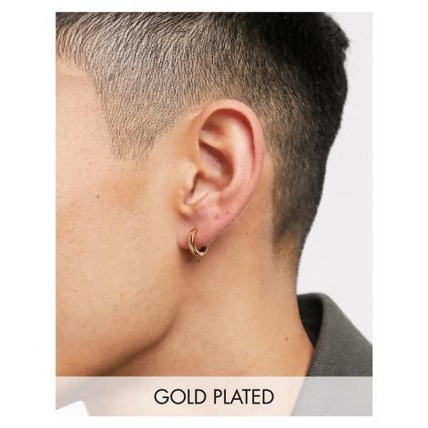 ASOS DESIGN 9mm hoop earrings in 14k gold plate