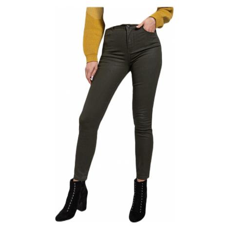 Dámské khaki kalhoty s vysokým pasem