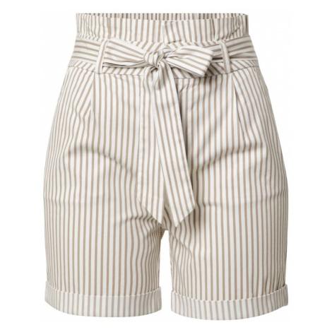 VERO MODA Kalhoty se sklady v pase 'Eva' béžová / bílá