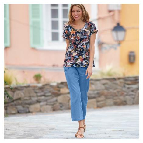 Blancheporte 7/8 denimové kalhoty sepraná modrá světlá