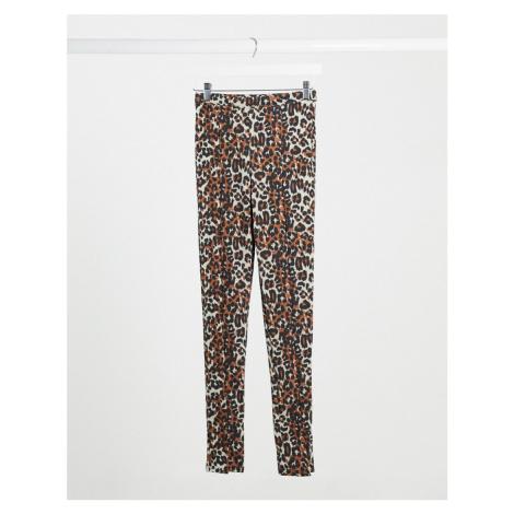 Daisy Street vented leggings in leopard print-Brown