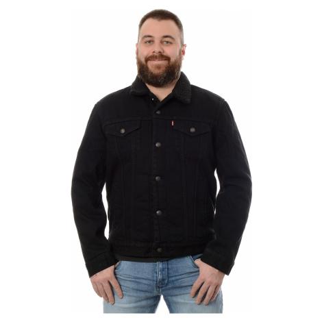 Džínová bunda Levi´s® Sherpa Trucker Berk pánská černá