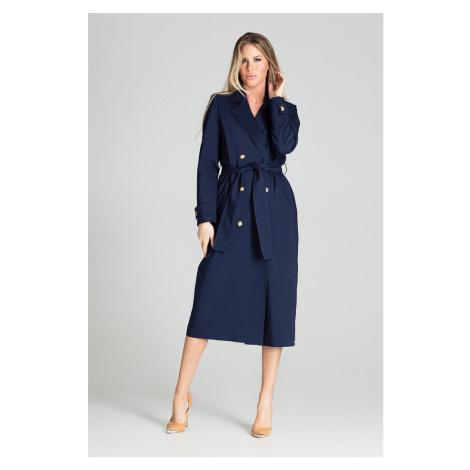 Dámský dlouhý béžový třenč kabát modrý dvouřadý s výstřihem