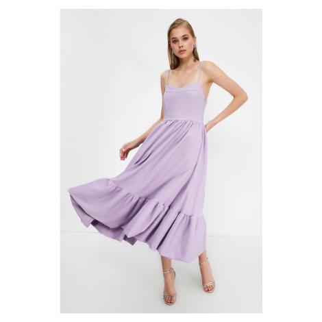 Trendyol Lilac Strapless Collar Dress
