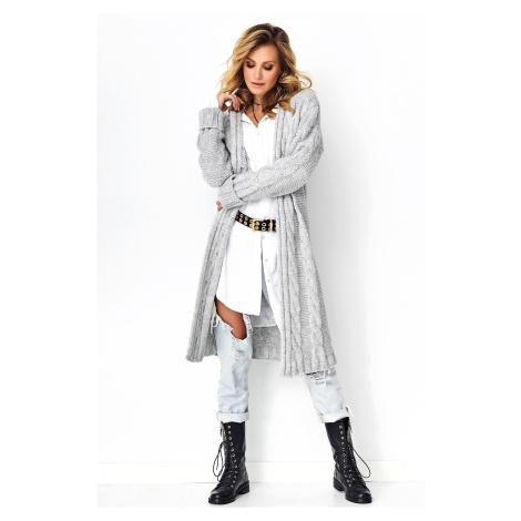 Lehký šedý svetr dlouhý hnědý kardigan s copánkovým vzorem