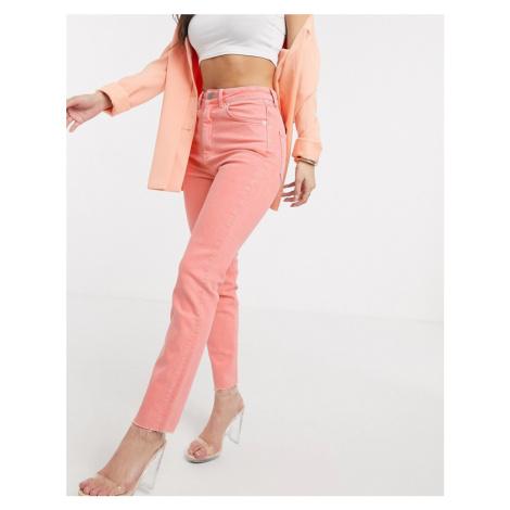 ASOS DESIGN high rise 'high rise farleigh' 'slim' mom jeans with raw hem in coral-Orange