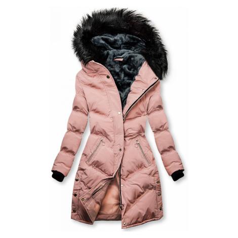 Růžová prošívaná zimní bunda Butikovo